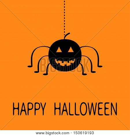 Cute cartoon black smiling pumpkin Hanging spider insect. Dash line web. Happy Halloween greeting card. Flat design. Orange background. Vector illustration