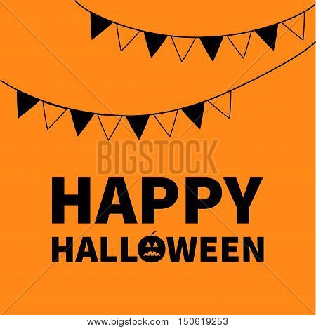 Triangle paper flags. Happy Halloween Lettering text banner with sad black pumpkin silhouette. Colorful flag set hanging on rope. Party time. Greeting card. Flat design. Orange baby background. Vector