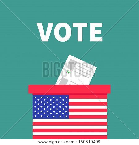 American flag Ballot Voting box with paper blank bulletin concept. Polling station. President election day Vote. Isolated Green background Flat design Card. Vector illustration