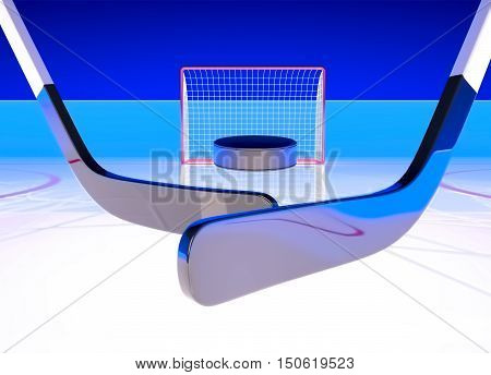 Situation at hockey gate. The puck flies to gate. Goal! 3D illustration