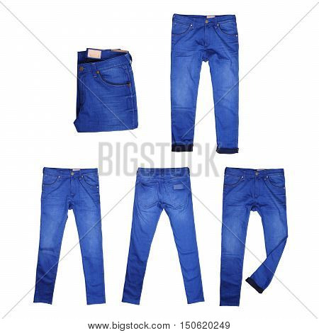 Collection isolated blue jean, blue jeans on white background