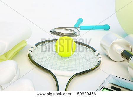 Sports equipment on white background. 3D illustration