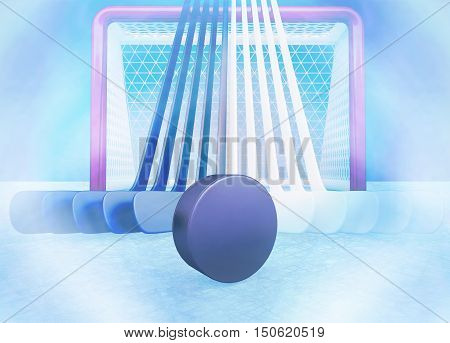 Hockey team. Hockey sticks and puck are located against the background of hockey gate. 3D illustration