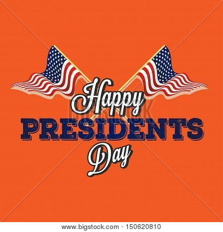 Happy presidential elections on an orange background Vector illustration