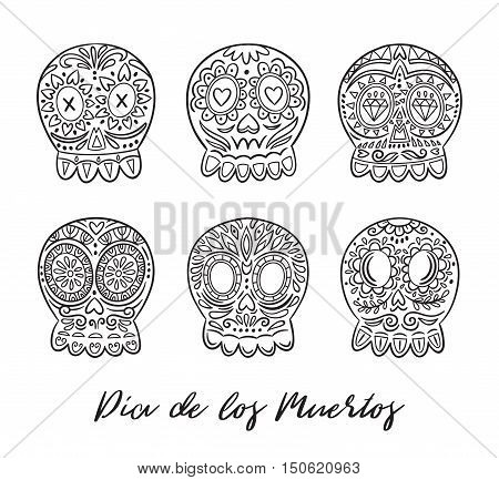 Day of the Dead skulls. Black and white hand drawn set. Vector illustratration. Mexican day of the dead. Freehand drawing. Coloring book page.