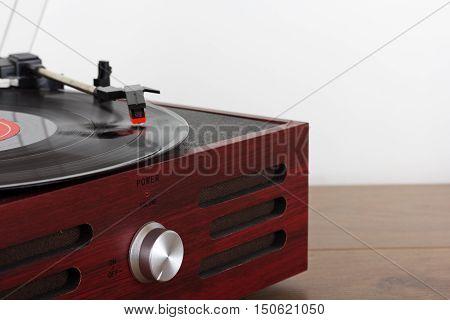 Close Up Of A Retro Record Player