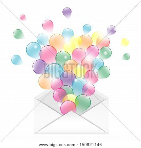Envelope with colorful ballons. Isolated on white background