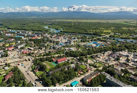 Yelizovo town on Kamchatka Peninsula. View from helicopter.