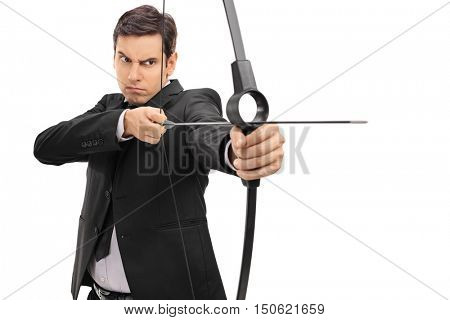 Businessman aiming with a bow and arrow isolated on white background