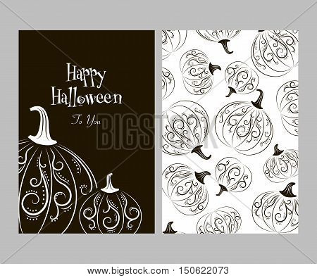 Two-sided postcard black and white pumpkins with abstract patterns on halloween, harvest festival or party, stickers vector illustration