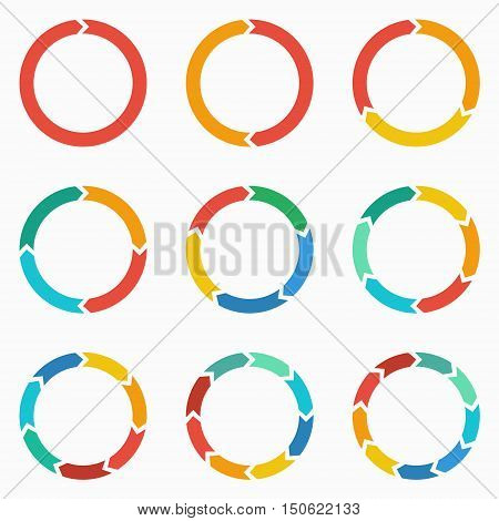 Vector circle arrows for infographic. Template for diagram graph presentation and chart. Business concept with 123 4 5 6 7 89 options parts steps or processes