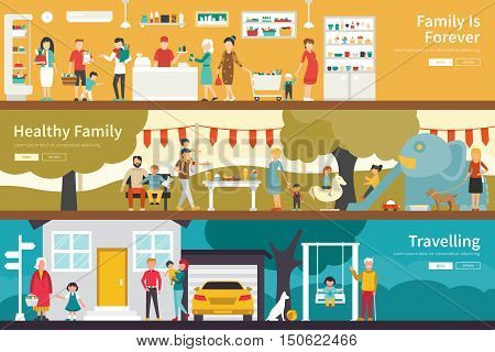 Family Is Forever Healthy Family Travelling flat interior outdoor concept web. Career Chart Fun