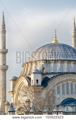 Beautiful image of old blue Istanbul mosque.