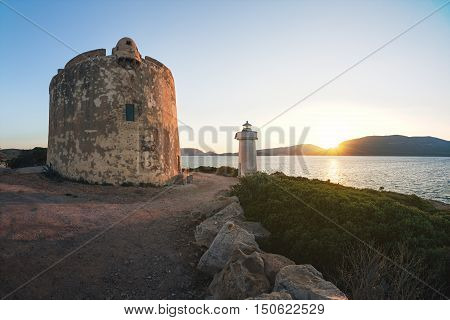 Ruins of Ancient Watchtower (Nuraghe) in the Porto Conte National Park near Alghero Province of Sassari Sardinia Italy