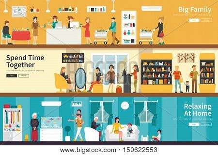 Big Family Spend Time Together Relaxing At Home flat interior outdoor concept web. Career Chart Fun