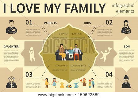 I Love My Family infographic flat vector illustration. Editable Presentation Concept