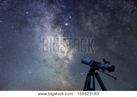 Astronomical Telescope  Starry Night. Milky Way Galaxy.