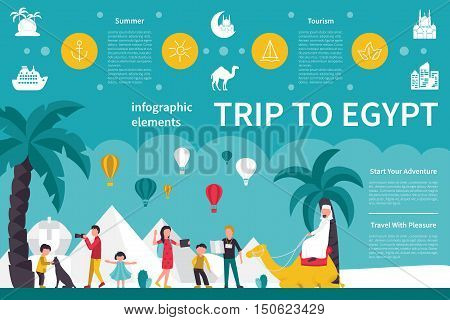 Trip To Egypt infographic flat vector illustration. Editable Presentation Concept