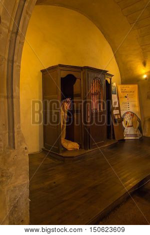 Poitiers France - September 12 2016: Part of the interior of the church of Saint-Porchaire in Poitiers France. Confessional in which confessed St. Louis Monfort