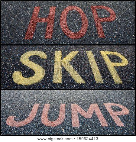 Text saying Hop Skip Jump