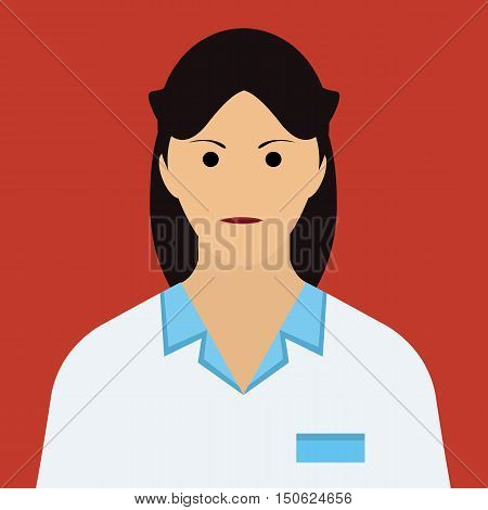 Woman Doctor Icon. Woman face with dark hair Flat Vector