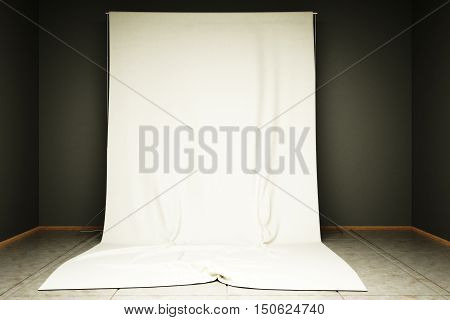 3d illustration of white cloth background in the photo studio.