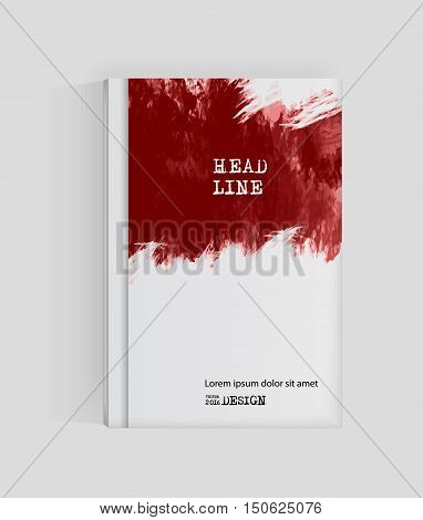 Red abstract design. Ink paint on brochure Blood element isolated on white. Grunge banner paints. Simple composition. Liquid ink. Background for banner card poster identityweb design.