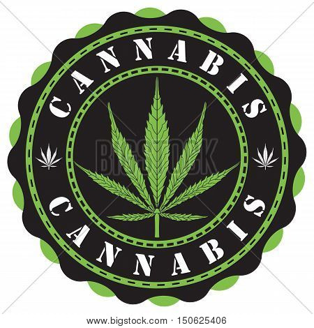 Awesome cannabis logo, black and green, editable vector illustration