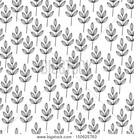 Monochrome seamless pattern with hand drawn plants. Vector endless illustration.