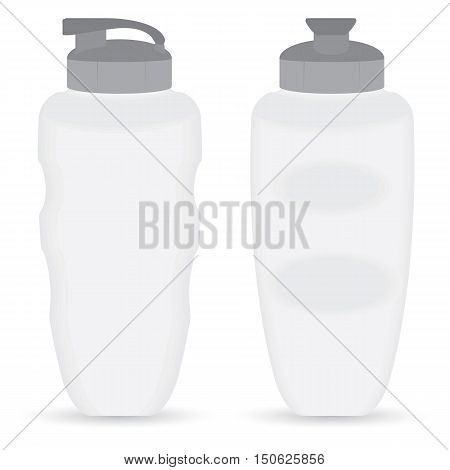 Thermos bottle set of Front and Side view isolated on white background.