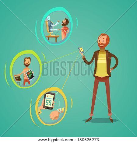 Mobile medicine concept with health examination symbols on green background cartoon vector illustration
