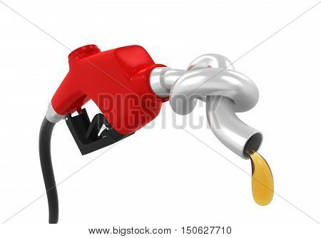 Gas Pump Nozzle with Knot isolated on white background. 3D render