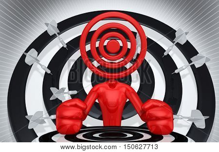 Target Head 3D Illustration