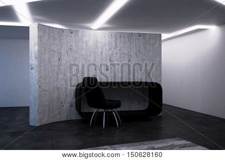 Empty net non-residential room. 3D illustration of the interior.