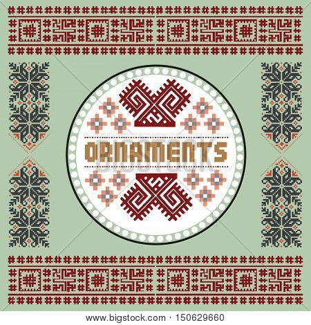 Vintage Nordic Ornament. Ethnic National Ornament. Retro Geometric Embroidery Swatch. Green, Burgundy digital background vector illustration.