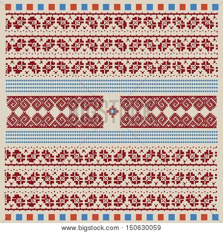 Vintage Nordic Ornament. Ethnic National Ornament. Retro Geometric Embroidery Swatch. Beige Burgundy digital background vector illustration.