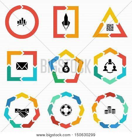 Vector geometric shapes arrows for infographic and startup business icon. Template for diagram graph presentation and chart. Business concept with 123 4 5 6 7 89 options parts steps or processes
