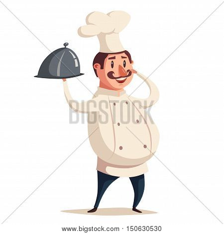 Funny chef, cute character. Vector cartoon illustration. serving the dish. Fat man in hat