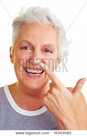 Woman With Blob On Her Nose