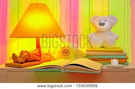 Evening fairy tale. Book, lamp, hours, glass of milk. 3D illustration