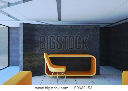 Empty non-residential room with orange table and chair. 3D illustration of the interior.
