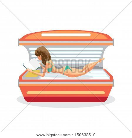 Young woman tanning in solarium and reading a book. Vector flat cartoon illustration isolated on a white background