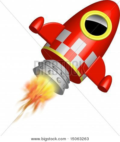 Red little rocket ship with flames