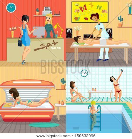 Beauty salon interior concept banners. Reception massage solarium and sauna. Women in spa and beauty studio vector illustration flat cartoon style