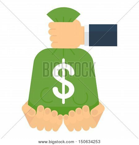 Hands Convey Bag Of Money