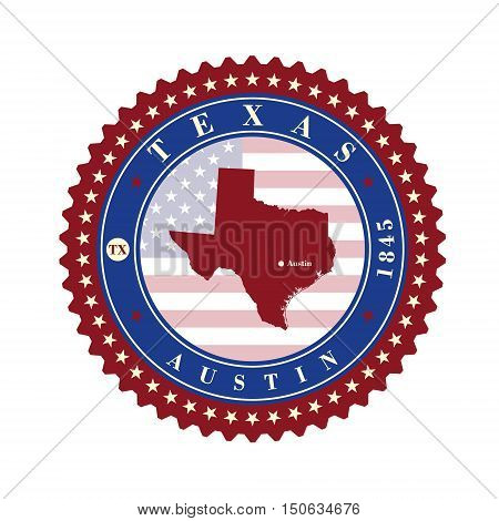 Label sticker cards of State Texas USA. Stylized badge with the name of the State year of creation the contour maps and the names abbreviations.