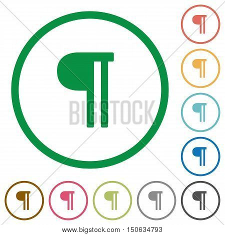 Set of text paragraph color round outlined flat icons on white background