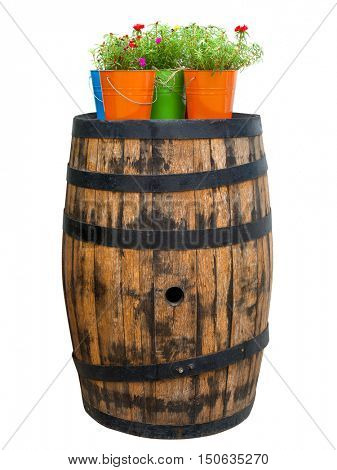 Old wooden barrel with flowers on top. Isolated over white background.