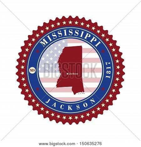 Label sticker cards of State Mississippi USA. Stylized badge with the name of the State year of creation the contour maps and the names abbreviations.