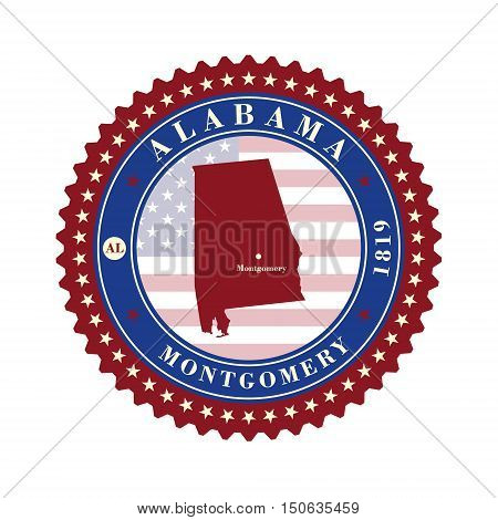 Label sticker cards of State Alabama USA. Stylized badge with the name of the State year of creation the contour maps and the names abbreviations.